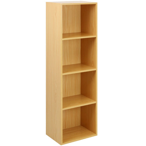 4 Tier Wooden Shelf Beech Bookcase Shelving Storage Display Rack