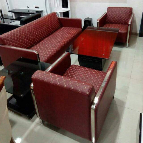 5 Seater Leather sofa set - Burgundy