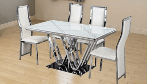 6 Seater Glass Dining Set- Black