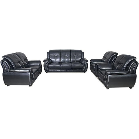 6-Seater Leather Sofa Home Furniture - Black