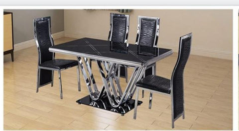 6 Seater Marble Dining Set- Black