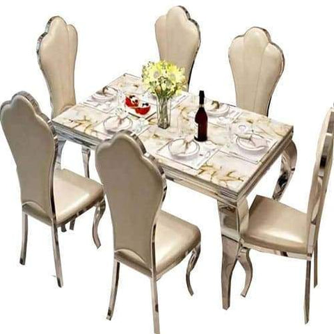 6 Seater Marble Dining Set- Cream