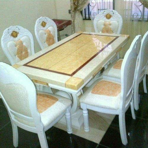 6 Seater Marble Dining Set White Hog Furniture