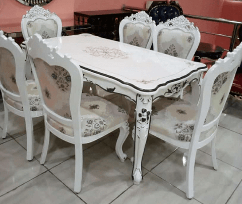 6 Seater Marble Dining Set- White