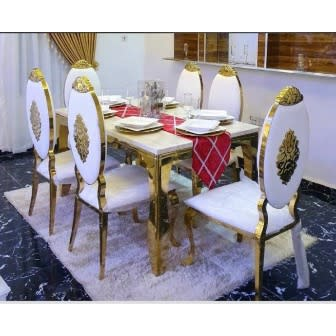 6 Seater Marble Top Dinning Set