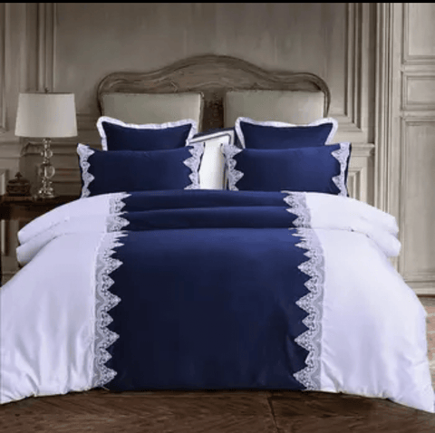 7 Navy blue and white America cotton bedding set uniquely designed with white  lace and do not wither or spoil with every wash