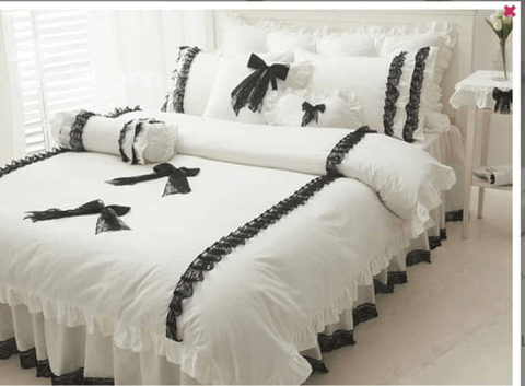 7 off white America cotton bedding set uniquely designed with black  lace and do not wither or spoil with every wash