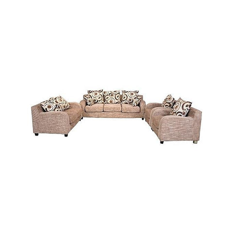 7 Seater Brown Fabric Sofa