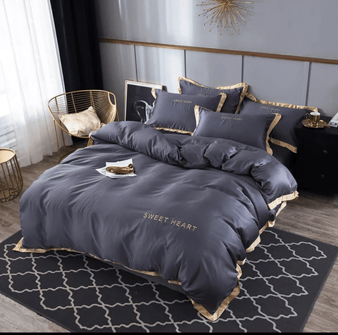 8 Luxury Grey America cotton embroidery bedding set duvet cover