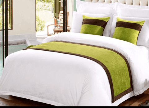 8 snow white 100%  America cotton bedding set with (GREEN) bed runner