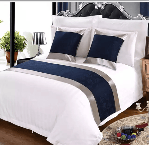 8 snow white 100%  America cotton bedding set with (NAVY BLUE) bed runner