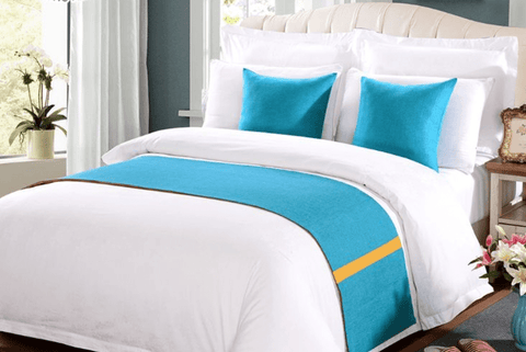 8 snow white 100%  America cotton bedding set with (SKY BLUE) bed runner