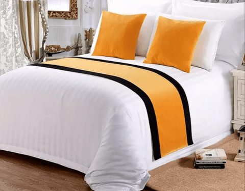 8 snow white 100%  America cotton bedding set with (YELLOW) bed runner