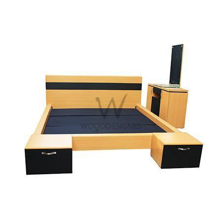 Adelia Series; 6 x 6 Feet Bedframe and Vanity Table (Golden-brown and Black)