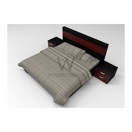 Adelia Series; 6 x 6 Feet Bedframe (Black and Red-brown)