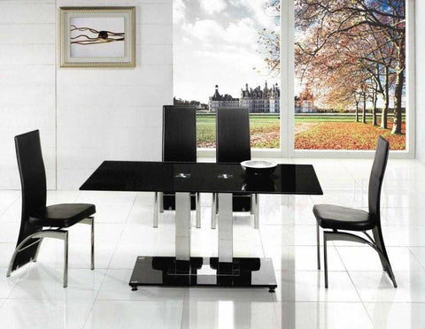Alba Chrome 2 Pole Glass Dining Table