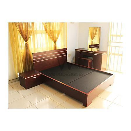 Alicia Series combo: 4.5×6 feet bed & Vanity table (Red-Brown)