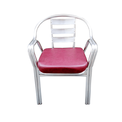 Aluminum Chair with Padded Leather Cushion