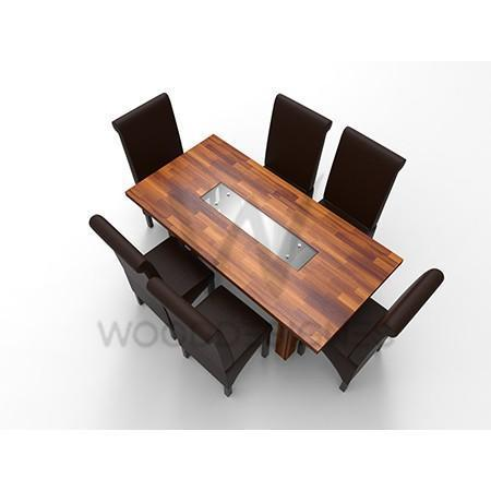 Alvar Deluxe Series; 6 Seater Dining Set (Teak)