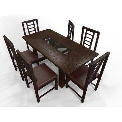 Alvar Dining set - 6-seater - Dark-Brown