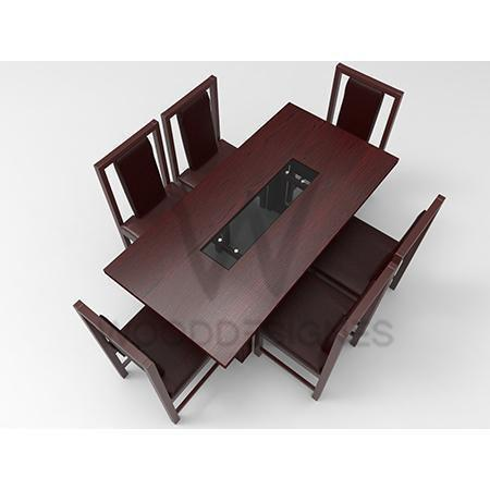 Alvar Pad Series; 6 seater dining (Red-Brown)