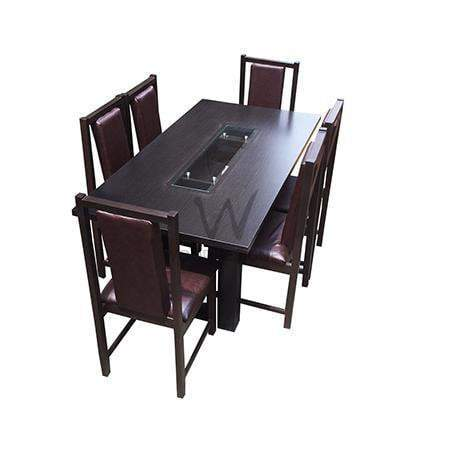 Alvar pad series; 6-seater dining set (Dark-brown)