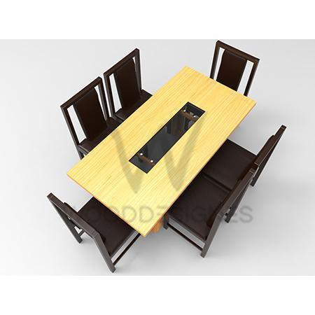 Alvar Pad Series; 6- seater Dining Set (Golden-Brown)