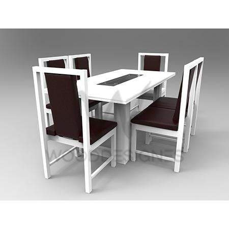 Alvar Pad Series; 6 Seater Dining Set (White)