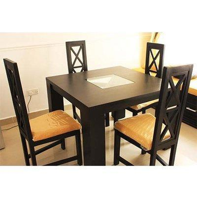 Alvar Series 4 Seater Dining Set - Black and Yellow