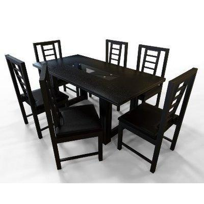 Alvar Series 6 Seater Dining Set - Black