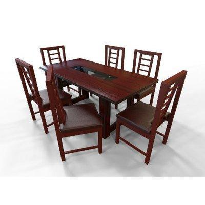 Alvar Series - 6-Seater Dining Set - Red Rose