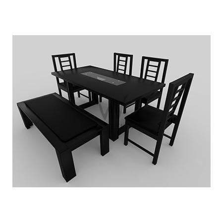 Alvar series Extra; 6-seater dining set -Black