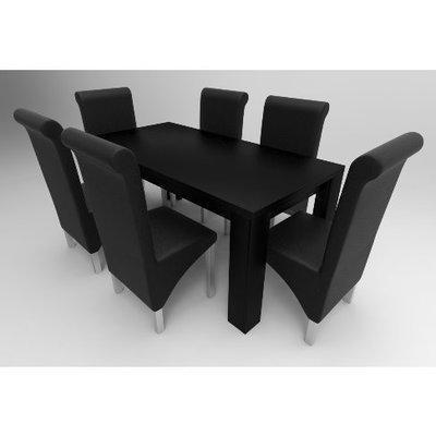 Amon Deluxe Series 6 Seater Dining Set-Black
