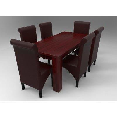 Amon Deluxe Series 6 Seater Dining Set-Reddish Brown