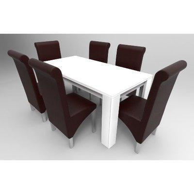 Amon Deluxe Series 6 Seater Dining Set-White