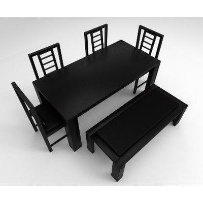 Amon Series Extra - 6-Seaters Dining Set - Black