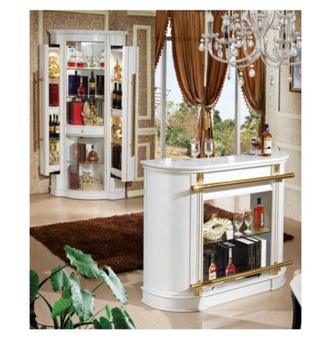Antique Bar Cabinet-White
