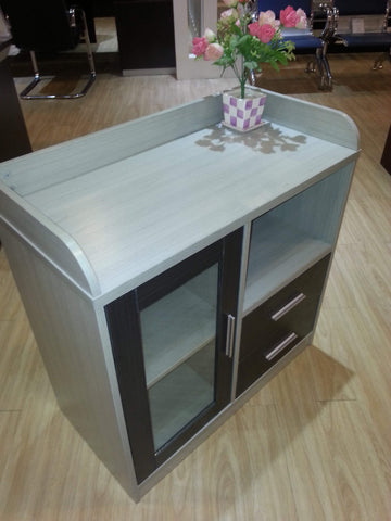 Ash Colour Single Door Wood And Glass Bookcase (BL984)