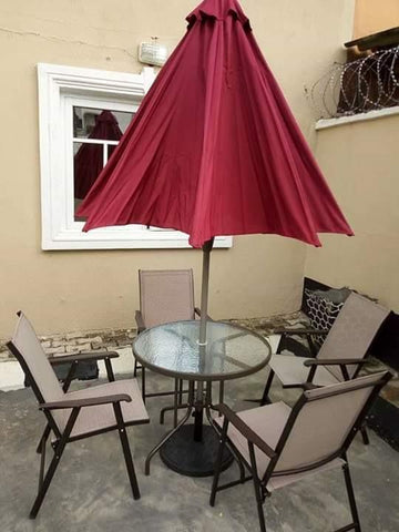 Ashu Textilene 4 Seater Round Garden Furniture Set with Parasol