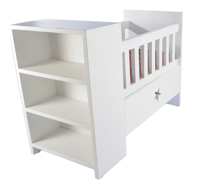 Baby Cot with Storage-White