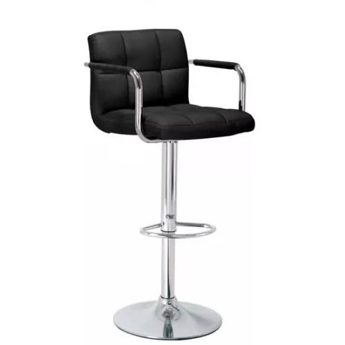 Backrest + Armrest Chrome Faux Leather Breakfast Bar stool Swivel - Black