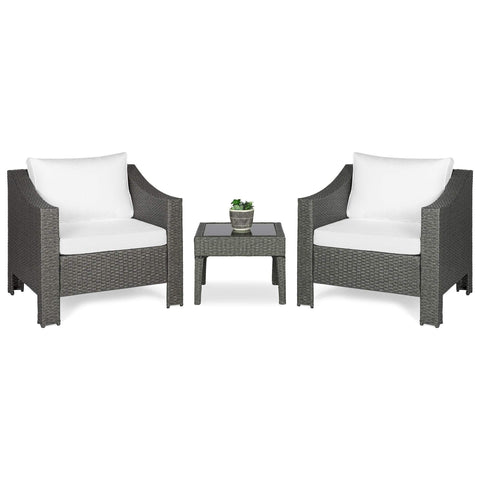 Best Choice Set of 2 Outdoor Wicker Club Patio Accent Chairs w/ Side Table