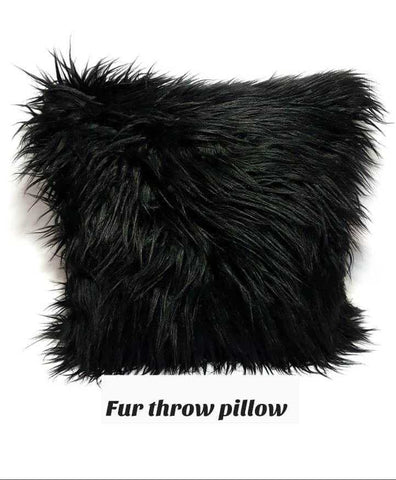 Black Fur Throw Pillow