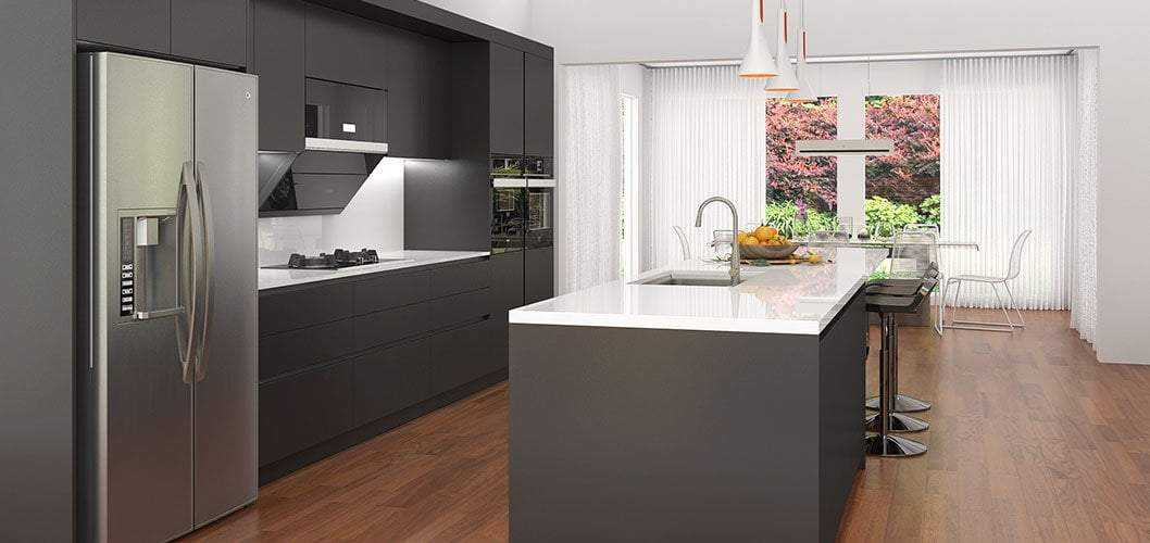 Black Lacquer Kitchen Cabinet with Large Island OP17-L13 ...