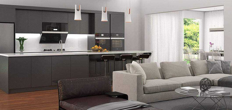 Black Lacquer Kitchen Cabinet with Large Island OP17-L13-Bespoke