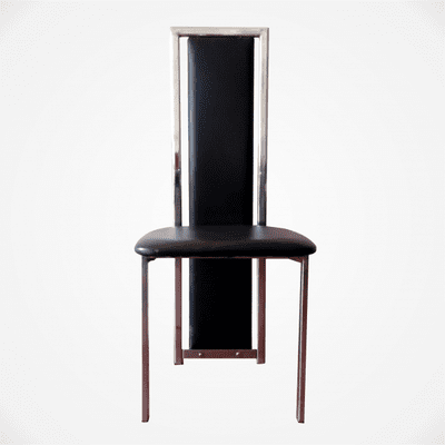 Black Leather Dining Chair With Chrome Stand