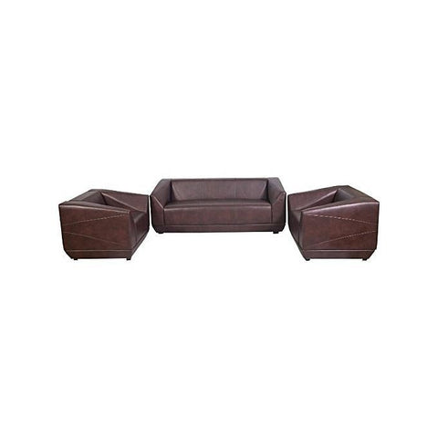 Brown 5 Seater Leather Sofa