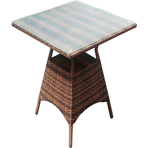 Brown Rattan And Glass Centre Table