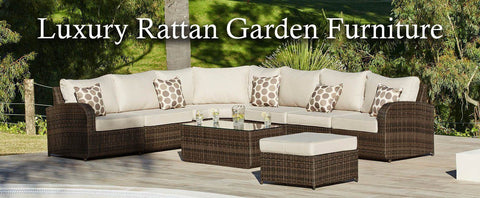 BROWN RATTAN CORNER SOFA ROUND 8 PIECE MODULAR SET