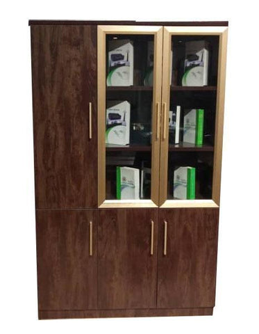 Brown Wood And Glass Executive Bookshelf (BL412)